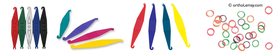 Crochet ou positionneur pour accrocher des élastiques orthodontiques.