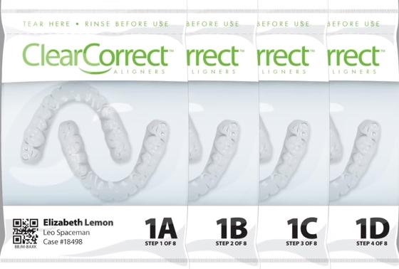 Coquilles aligneurs transparents ClearCorrect, une alternative à Invisalign pour l'orthodontie invisible.