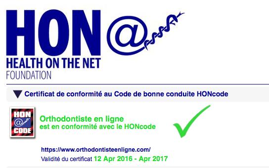 Certification HONcode en orthodontie pour les site www.orthodontisteenligne.com et www.orthoLemay.com. Certificat de conformité