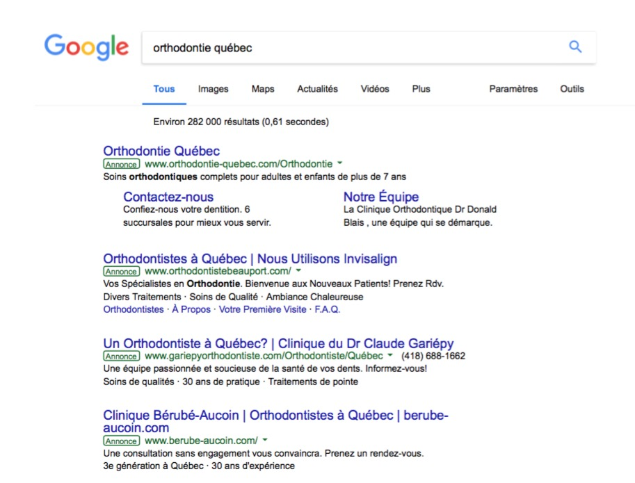 SERP Orthodontie Quebec 4 orthos AdWords .jpg